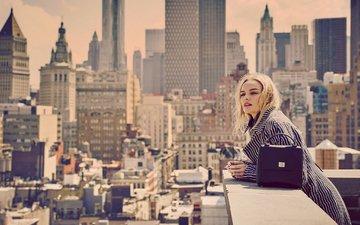 блондинка, город, дома, актриса, крыша, макияж, прическа, фотосессия, пальто, сумка, vs, guy aroch, кейт босворт
