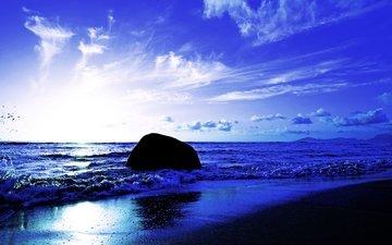 берег, волны, закат, пейзаж, море, сейшельские острова