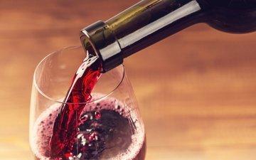напиток, бокал, вино, бутылка, красное, красное вино