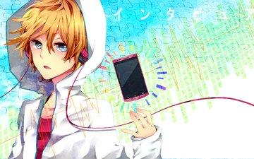 арт, взгляд, парень, наушники, телефон, жест, yuuchi, 96neko, nico nico singer