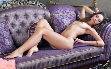 girl, pose, sofa