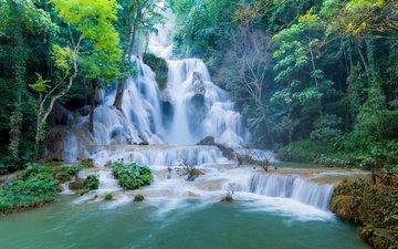 водопад, лаос, tat kuang si waterfalls, luang prabang