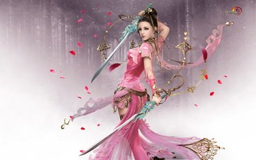 forest, girl, pose, petals, look, pink, swords, jx online