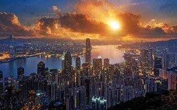 закат, пейзаж, город, гонконг