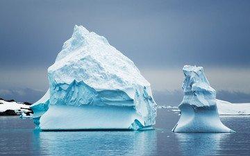 природа, лёд, айсберг, океан, антарктида