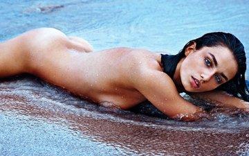 water, girl, model, chest, face, figure, sexy, body, beauty, ass, waist, erotic, andreea diaconu, andrea giaconi