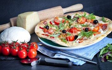 сыр, помидоры, пицца, брынза, помидорами, быстрое питание