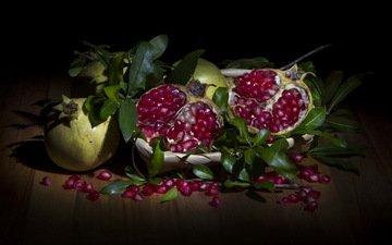 фон, фрукты, гранаты