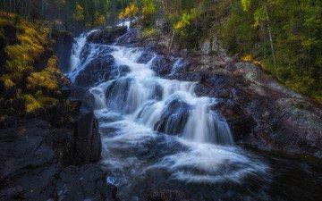 река, скалы, водопад, осень, каскад