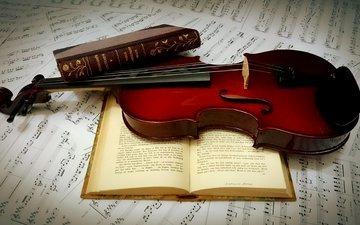 ноты, скрипка, книги