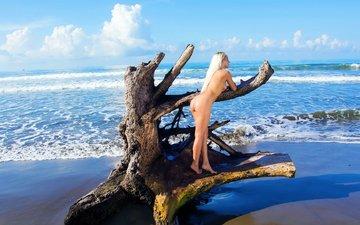 небо, девушка, море