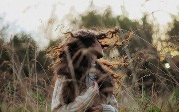природа, девушка, завитки, волосы, ветер