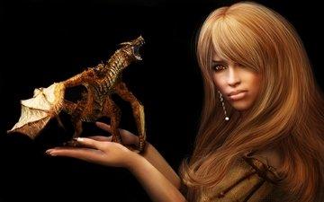 girl, fiction, dragon