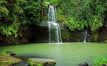 деревья, скалы, пейзаж, водопад, водоем