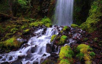 природа, камни, водопад, мох