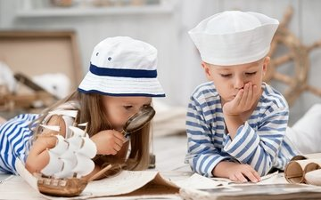 children, girl, boy, girls, magnifier, friendship, little, hat, friends, boat, sailor, boys