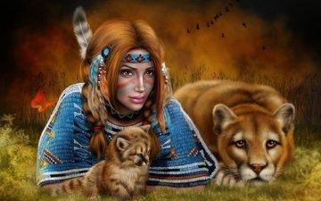 art, girl, puma, cub, cougar, indian