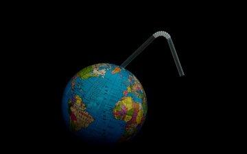 земля, фон, глобус, трубочка