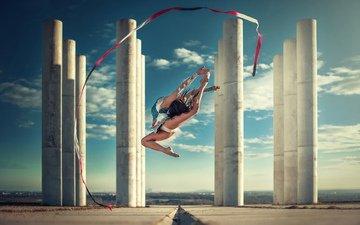 девушка, прыжок, спорт