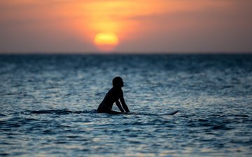 water, sunset, girl, sea, silhouette, surfing