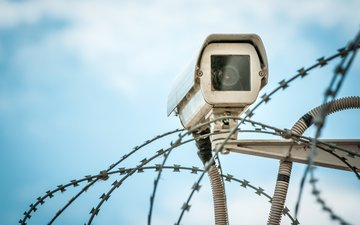 barbed wire, security camera, surveillance