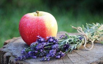 цветы, лаванда, плод, фрукт, яблоко