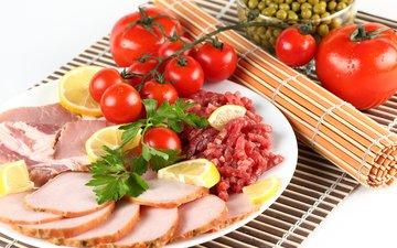 лимон, мясо, горох, помидоры, помидор, томаты, ветчина, нарезка