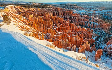 горы, снег, зима, сша, штат юта, каньон брайс национальный парк