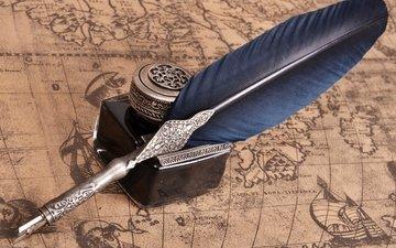 карта, чернила, перо, географическая карта