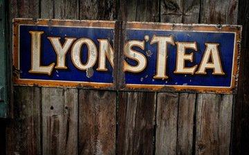 текст, lyons tea, уличный знак