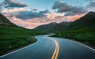 дорога, горы, природа, пейзаж, аляска
