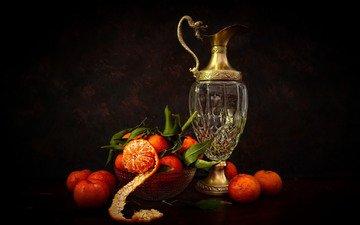 листья, мандарины, натюрморт, графин, кожура