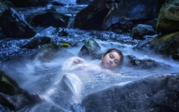 вода, река, камни, настроение, азиатка