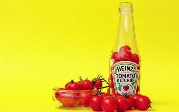 кетчуп, бутылки, помидоры, чаша, heinz