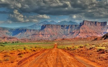 дорога, горы, скалы, пейзаж, штат юта
