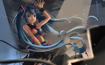 art, girl, smile, anime, vocaloid, gesture, newnand, hatsune miku