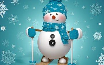snow, new year, snowman, ski, scarf, rojdestvo, button