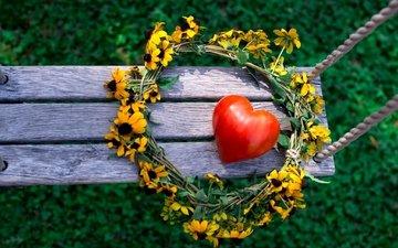 цветы, природа, лето, сердце, венок, качели