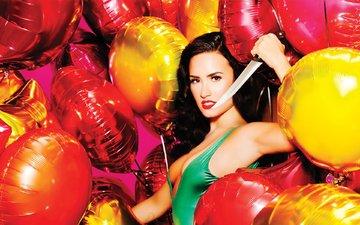 шары, девушка, красавица, актриса, певица, нож, деми ловато