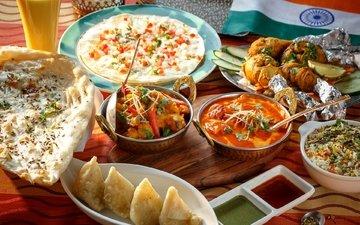 флаг, овощи, соус, рис, суп, ассорти, блюда, индийская кухня, лепешки
