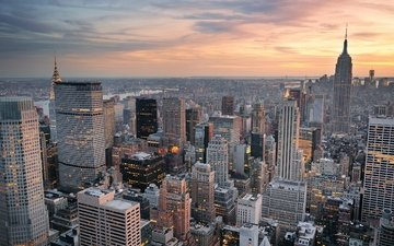панорама, город, небоскребы, высотки, cityscape