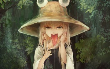 girl, language, hat, bangs, animation, moriya suwako