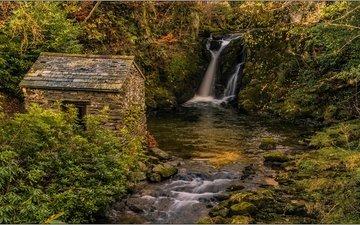 река, пейзаж, водопад, осень, дом