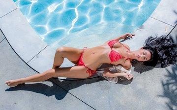 девушка, бассейн, купальник