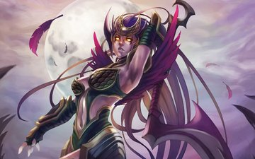 night, girl, the moon, chest, diana, dark valkyrie, scorn of the moon, league of legends