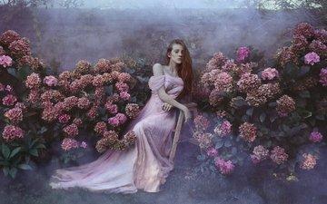 цветы, девушка, настроение, платье, сад, рыжая, рыжеволосая, гортензии
