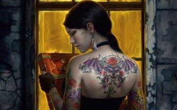 girl, brunette, tattoo, back, window, book
