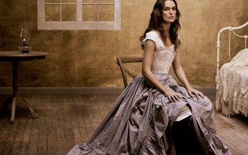 платье, брюнетка, ретро, модель, комната, фотограф, актриса, кира найтли, vogue, mikael jansson