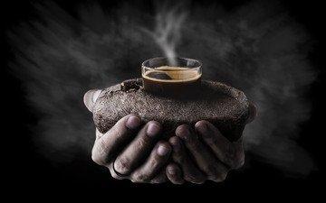 напиток, кофе, руки, чашка, водопой, кубок, жидкая