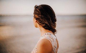 девушка, платье, ветер, вырез